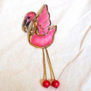 VTG flamingo brooch